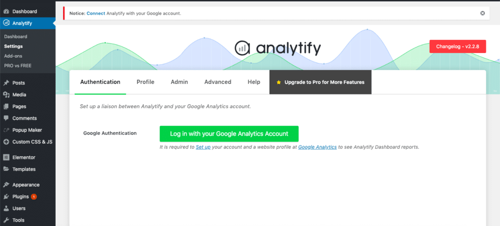 connect analytify